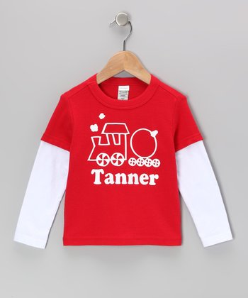 Red Train Personalized Layered Tee - Infant, Toddler & Boys