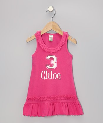 Hot Pink Personalized Number Dress - Infant, Toddler & Girls
