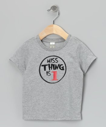 Gray 'Miss Thing' Personalized Tee - Infant, Toddler & Girls
