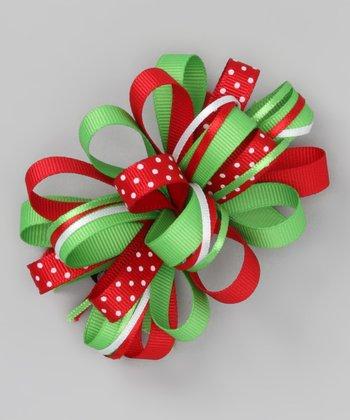 Red & Green Polka Dot Loopy Bow Clip