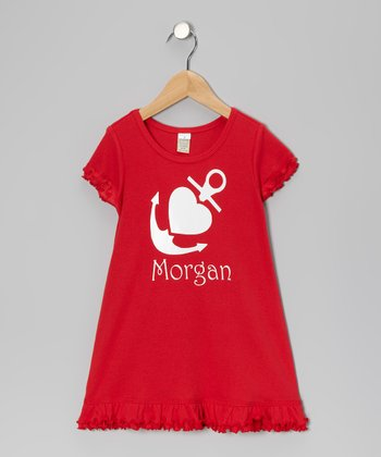 Red Anchor Heart Personalized Dress - Infant, Toddler & Girls