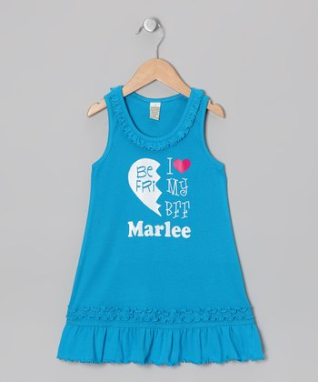 Blue 'BFF' Left Personalized Dress - Infant, Toddler & Girls