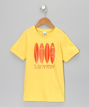 Yellow Surf Board Personalized Tee - Infant, Toddler & Boys