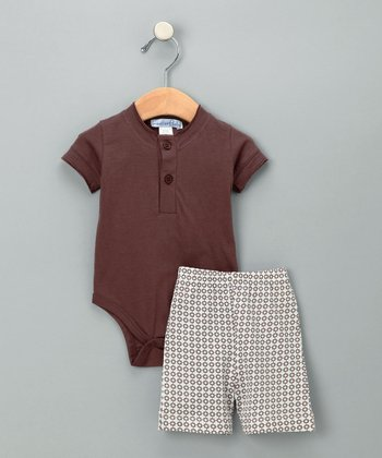 Dark Brown Henley Bodysuit & Shorts