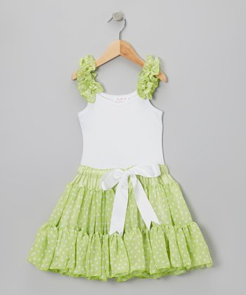 Lime & White Polka Dot Frilly Dress - Infant, Toddler & Girls