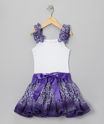 Purple Cheetah Frilly Dress - Girls