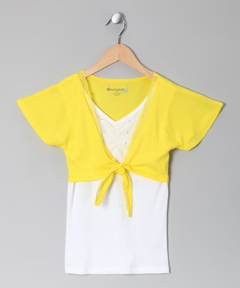 Lemon Layered Tie Top - Girls