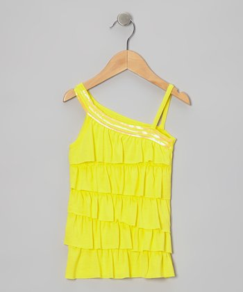 Lemon Sequin Asymmetrical Tank - Toddler