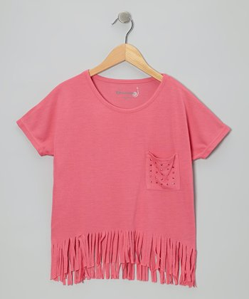 Hot Pink Fringe Top - Girls