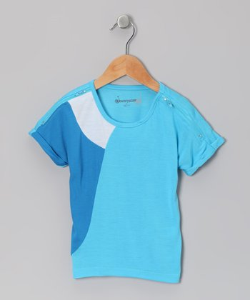 Light Blue Color Block Zipper Top - Toddler & Girls