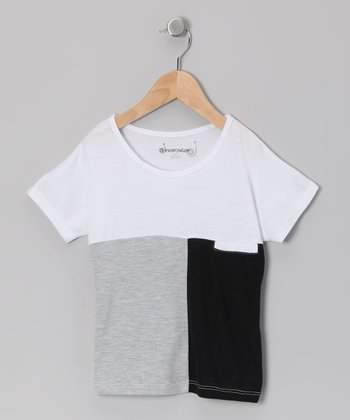 Heather Gray & Black Color Block Top - Toddler & Girls