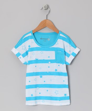 Neon Blue Electric Stripe Pocket Tee - Toddler