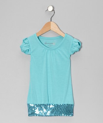 Turquoise Sequin Top - Toddler & Girls
