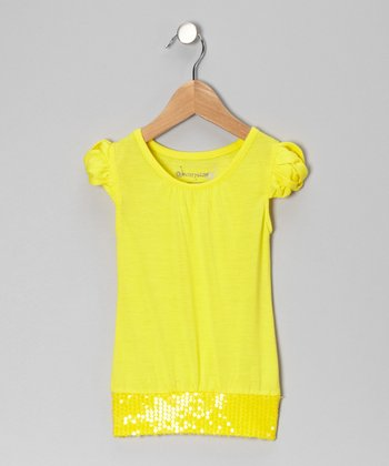Lemon Sequin Top - Girls