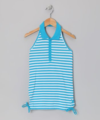 Hawaii Blue & White Stripe Halter Top - Girls