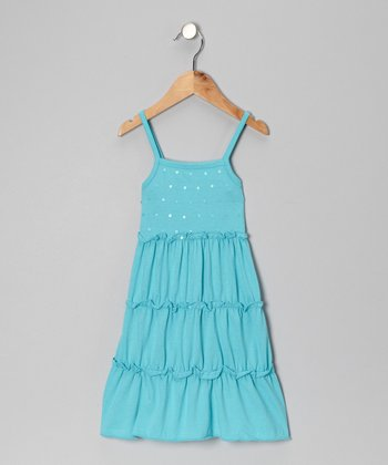 Turquoise Sequin Sundress - Toddler