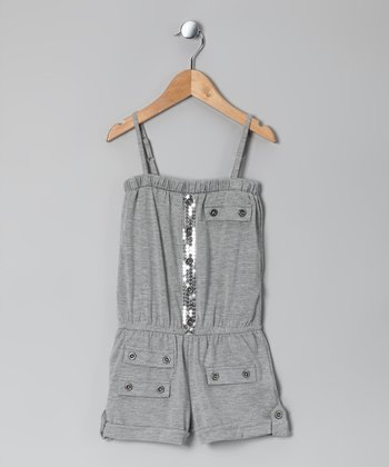 Heather Gray Sequin Romper - Girls