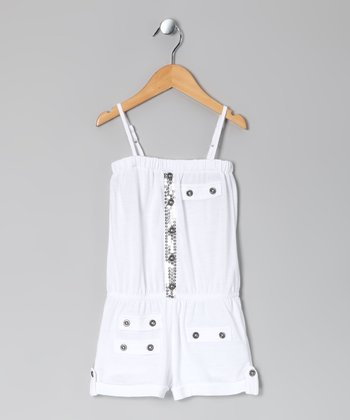White Sequin Romper - Girls