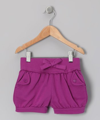 Purple Bow Shorts - Toddler & Girls