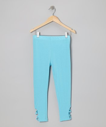 Neon Blue Cutout Leggings - Toddler & Girls