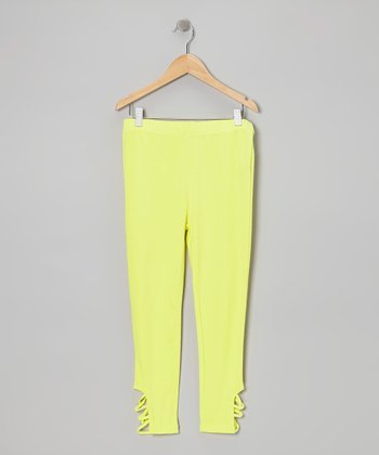 Neon Yellow Cutout Leggings - Toddler & Girls