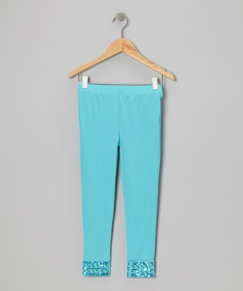Turquoise Sequin Leggings - Toddler & Girls