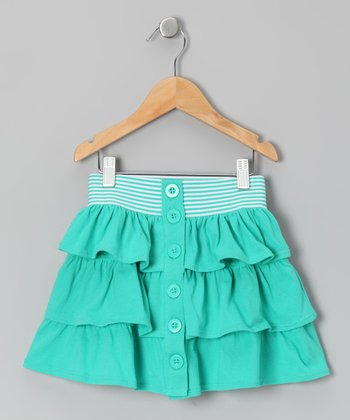 Aqua Green Tiered Ruffle Skirt - Toddler & Girls