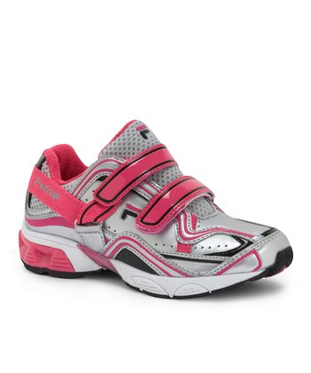 Silver, Hot Pink & Black F-Strap Sneaker - Toddler & Girls