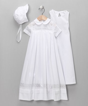 White Boy Christening Gown & Bonnet