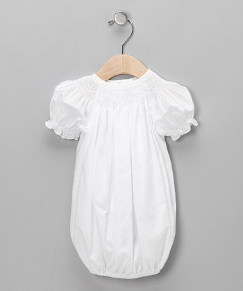 White Smocked Puff-Sleeve Gown