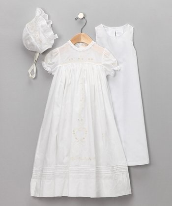 Ivory Christening Gown & Bonnet