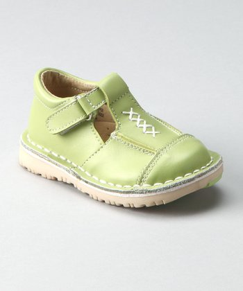 Green Criss-Cross T-Strap Shoe - Toddler