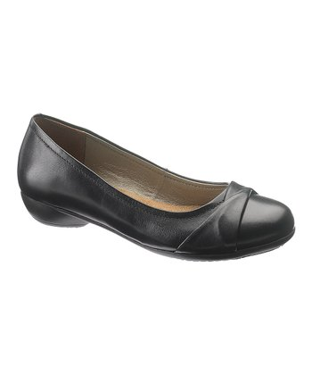 Black Leather Achelle Flat - Women