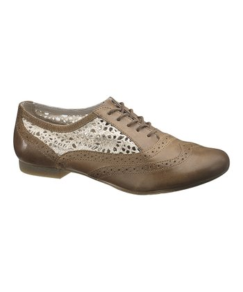 Brown Leather Pennant Oxford - Women