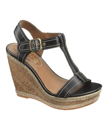 Black Renown T-Strap Wedge - Women