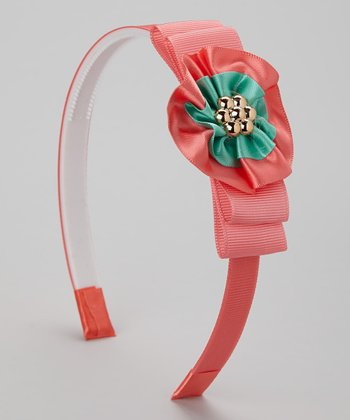 Coral & Green Flower Headband