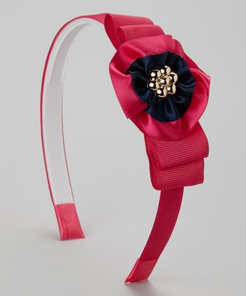 Magenta & Navy Flower Headband