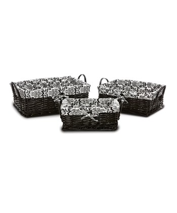 Laura Ashley - Black & White Delancy Handled Basket Set