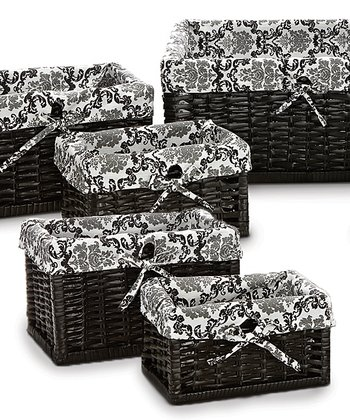 Black & White Delancy Five-Piece Basket Set