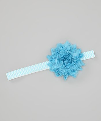 Light Blue Zigzag Glitter Dandelion Headband