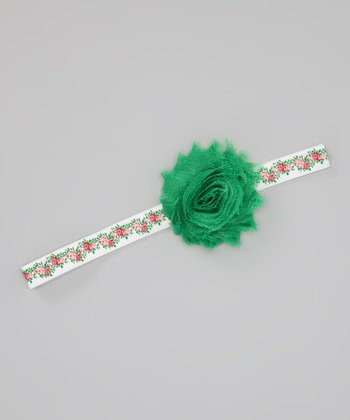Green & Red Spring Roses Headband