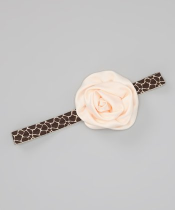 Brown & Ivory Giraffe Satin Rose Headband