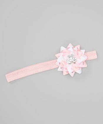 Pink & White Butterfly Gift Bow Headband