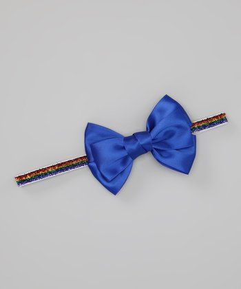 Rainbow & Bright Blue Bow Headband