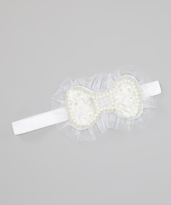 White Beaded Bow Headband