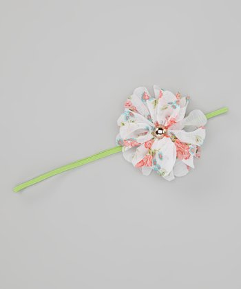 Peach & Lime Chiffon Flower Headband