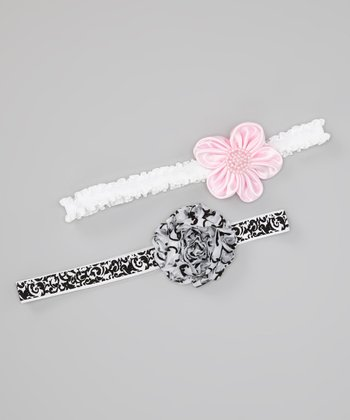 Black & Pink Damask Flower Headband Set