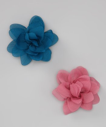 Peacock Blue & Rose Pink Petal Clip Set