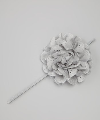 Gray Eyelet Flower Headband