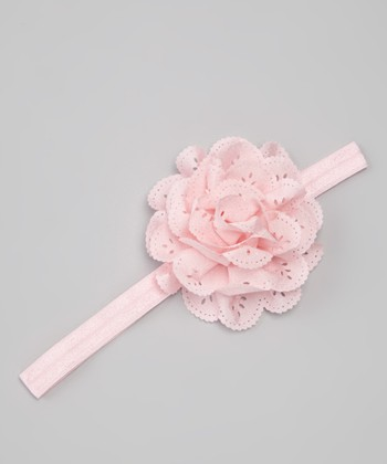 Light Pink Eyelet Flower Headband
